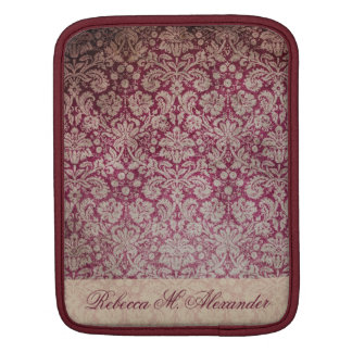 Elegant Vintage Wine Damask Pattern Custom Sleeve iPad Sleeves