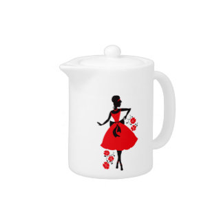 Elegant vintage young woman red black silhouette