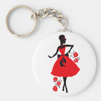 Elegant vintage young woman red black silhouette basic round button keychain