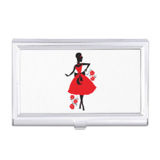 Elegant vintage young woman red black silhouette case for business cards