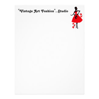Elegant vintage young woman red black silhouette personalized letterhead
