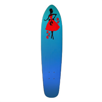 Elegant vintage young woman red black silhouette skate deck