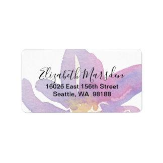 Elegant Violet Lavender Watercolor Floral Label