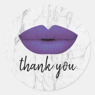 Elegant Violet Lips White Marble Thank You Classic Round Sticker
