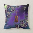 Elegant Violin Fractal Music Throw Pillow