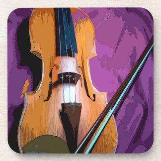 Elegant Violin on Purple Silk, 6 Plastic Coasters