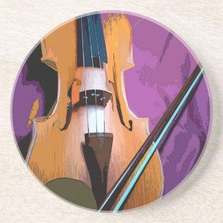 Elegant Violin on Purple Silk, SandStone Coaster