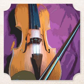 Elegant Violin on Purple Silk, Shaped Coaster