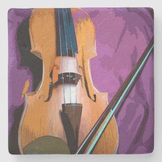 Elegant Violin on Purple Silk, Stone Coaster