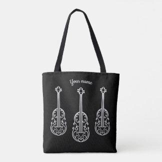 Elegant violins on black tote bag