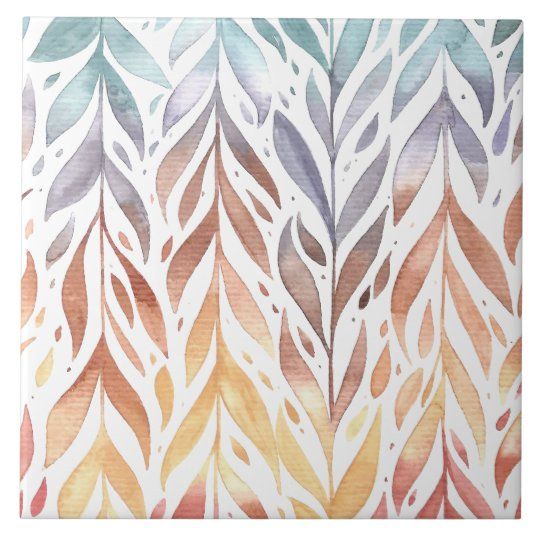 Elegant Watercolor Autumn Leaves | Ceramic Tiles