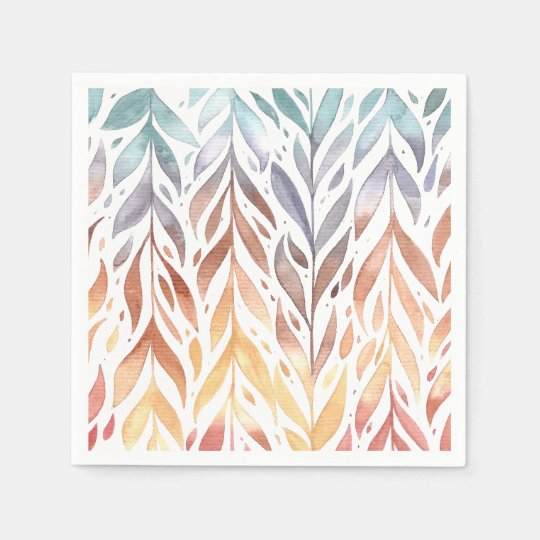 Elegant Watercolor Autumn Leaves | Napkin Disposable Napkins