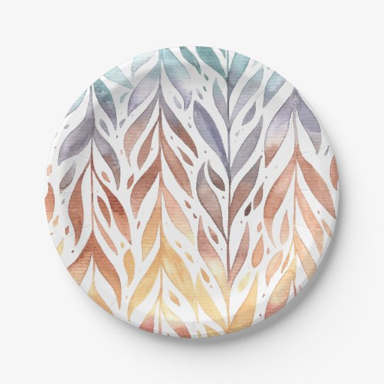 Elegant Watercolor Autumn Leaves | Paper Plates