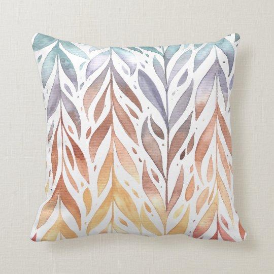 Elegant Watercolor Autumn Leaves | Throw Pillow