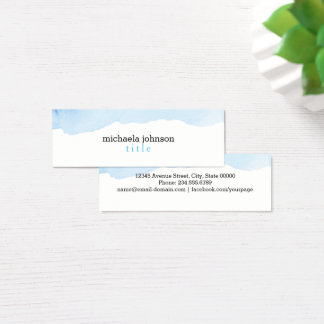 Elegant Watercolor BLUE minimal Mini Business Card