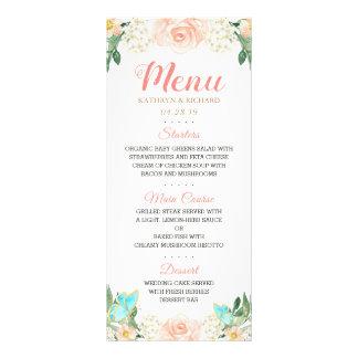 Elegant Watercolor Blush Peach Floral Wedding Menu