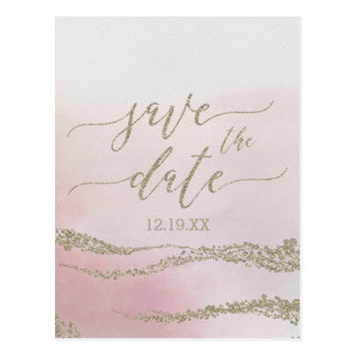 Elegant Watercolor Blush Wedding Save the Date Postcard