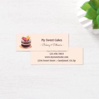 Elegant watercolor cake patisserie cupcake mini mini business card