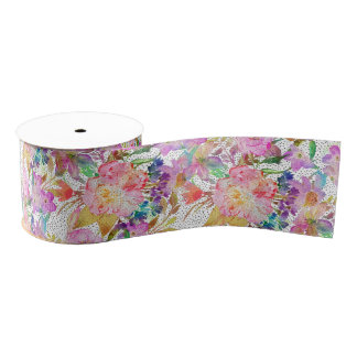 Elegant watercolor floral and dotted brush strokes grosgrain ribbon