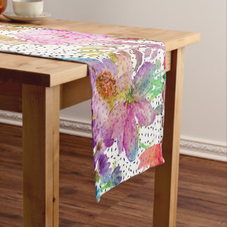 Elegant watercolor floral and dotted brush strokes short table runner