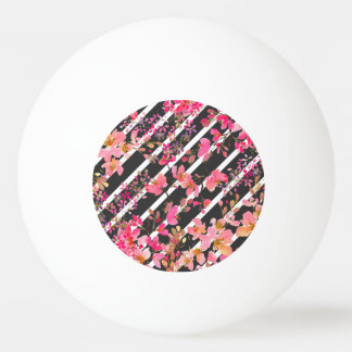 Elegant watercolor floral and stripes pattern ping pong ball