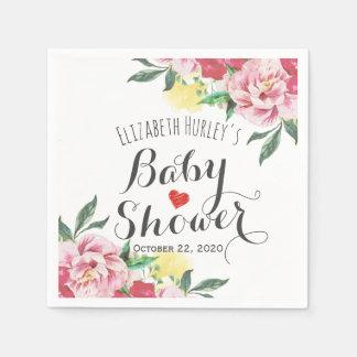 Elegant Watercolor Floral Baby Shower Paper Napkin