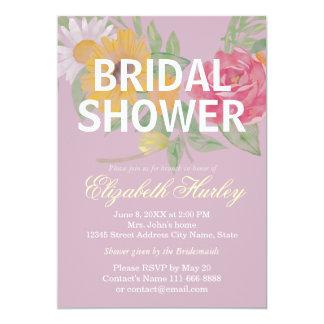 "Elegant Watercolor Floral Bridal Shower Wedding 5"" X 7"" Invitation Card"