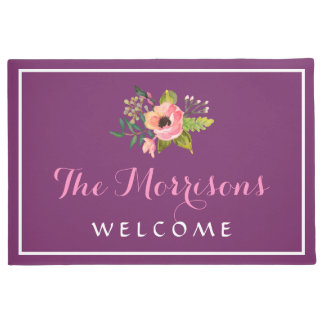 Elegant Watercolor Floral Decor Beautiful Purple Doormat