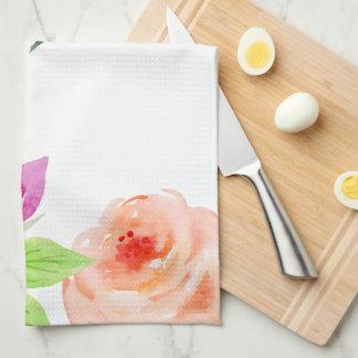 Elegant Watercolor Floral Kitchen Towel