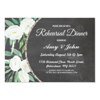 Elegant Watercolor Floral Rehearsal Dinner Invite
