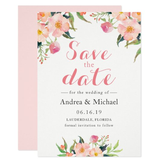 Elegant Watercolor Floral Save The Date Card