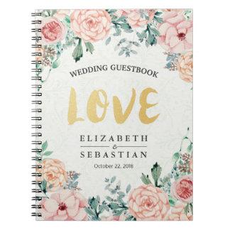 Elegant Watercolor Floral Script Wedding Guestbook Notebooks