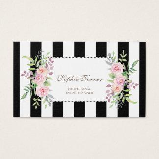 Elegant Watercolor Floral Stripes Custom Business Card