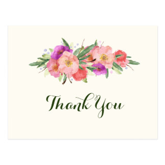 Elegant Watercolor Floral Thank You Postcard