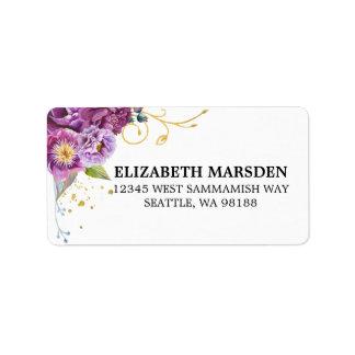 Elegant Watercolor Floral Violet Gold Label