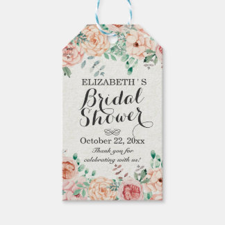 Elegant Watercolor Floral Wedding Bridal Shower Pack Of Gift Tags