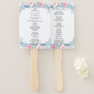 Elegant Watercolor Floral Wedding Program Hand Fan
