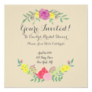 Elegant Watercolor Flower Bridal Shower Invitation