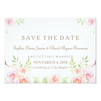 Elegant Watercolor Flowers Wedding SAVE THE DATE Card