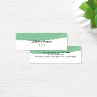 Elegant Watercolor Green minimal Mini Business Card