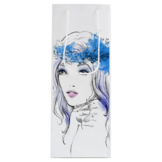 Elegant watercolor hand drawn woman  illustration wine gift bag