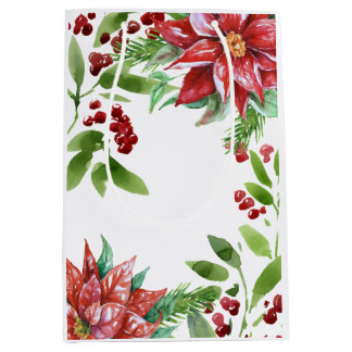 Elegant Watercolor Holiday Floral Medium Gift Bag