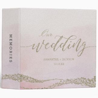 Elegant Watercolor in Blush Wedding Photo Album Vinyl Binders
