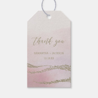 Elegant Watercolor in Blush Wedding Thank You Gift Tags