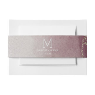 Elegant Watercolor in Cranberry Wedding Monogram Invitation Belly Band