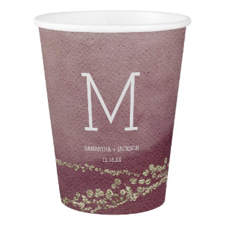 Elegant Watercolor in Cranberry Wedding Monogram Paper Cup