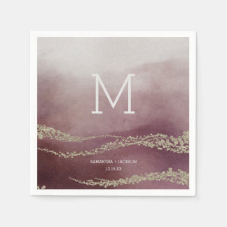 Elegant Watercolor in Cranberry Wedding Monogram Paper Napkin
