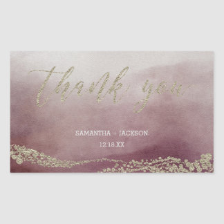 Elegant Watercolor in Cranberry Wedding Thank You Sticker