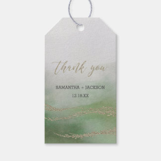 Elegant Watercolor in Foliage Wedding Thank You Gift Tags