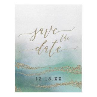 Elegant Watercolor in Ocean Wedding Save the Date Postcard